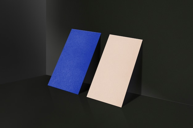 Blank business card mockup in modern blue and tan