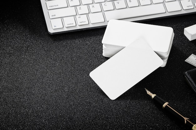 Blank business card mockup on table for design business contact