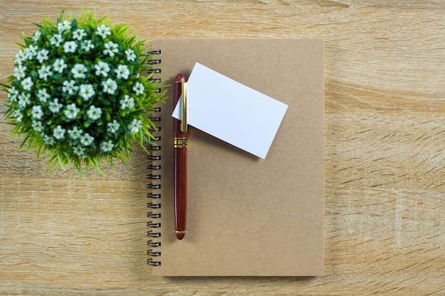 Blank business card or name card with notebook