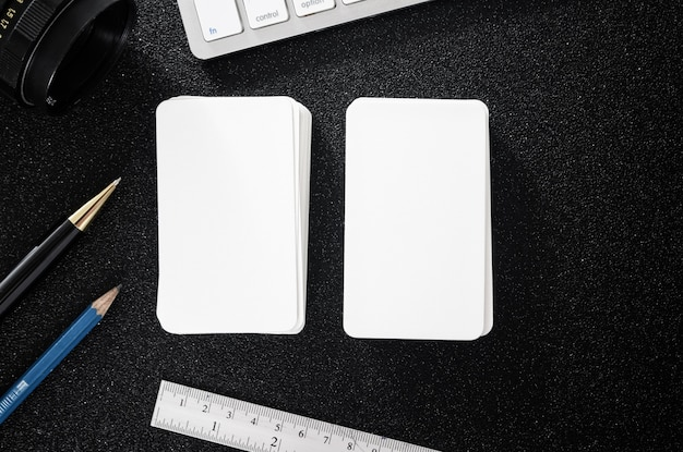 Blank business card presentation mockup on table for design business contact