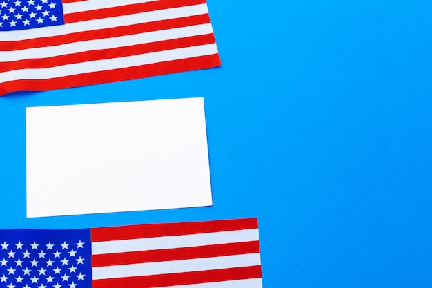 Blank business card with american flags