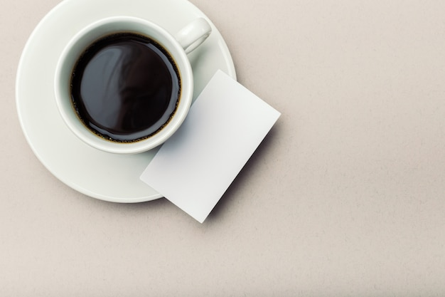 Blank business card with coffee cup