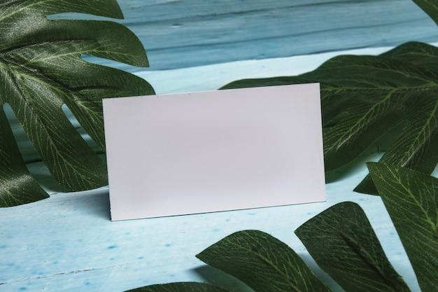 ライトブルーの木製テーブルに熱帯植物と空白の名刺。