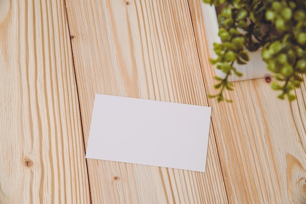 Blank business cards and little tree on wood