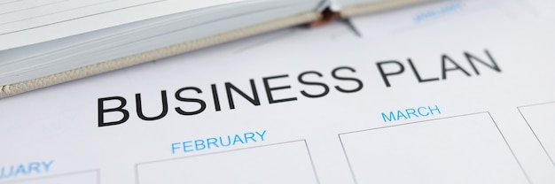 Blank business plan for year printed on paper list