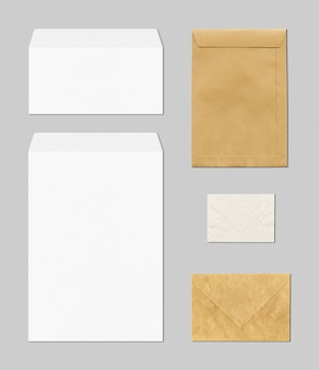 Blank business stationery with envelopes in brown and white