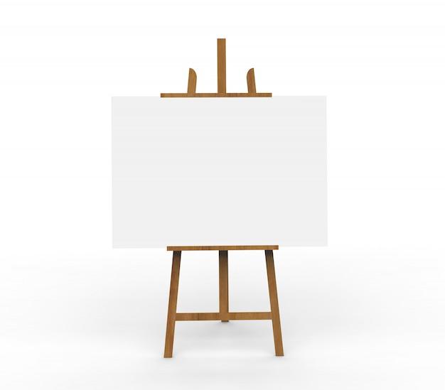 木製イーゼルに空白のキャンバス