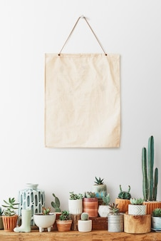 Blank canvas poster hanging over a shelf full of cacti and succulents