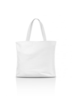 Blank canvas tote bag isolated on white