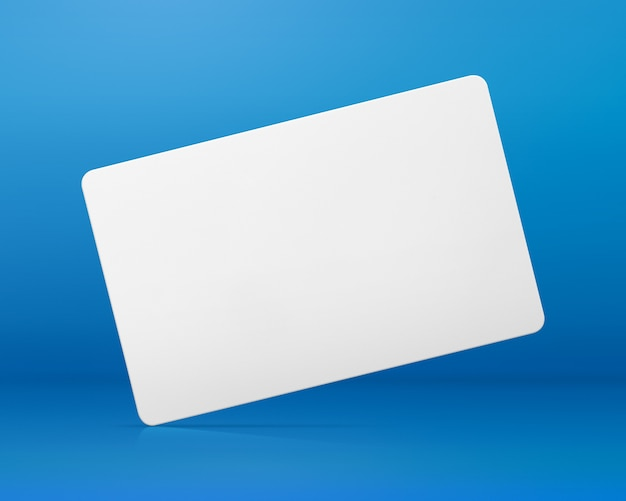 Blank card on blue background. blank name tag for design.