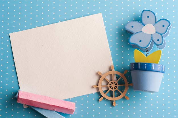 Blank card on blue background with boat