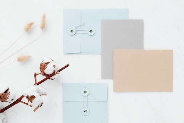 Blank card collection on a white table