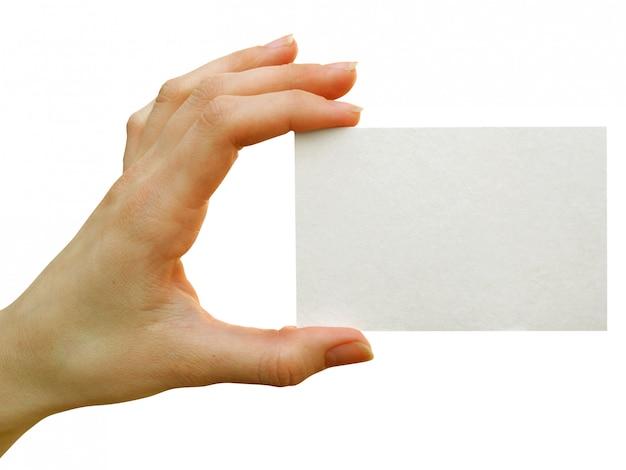 Пустая карточка в руке человека