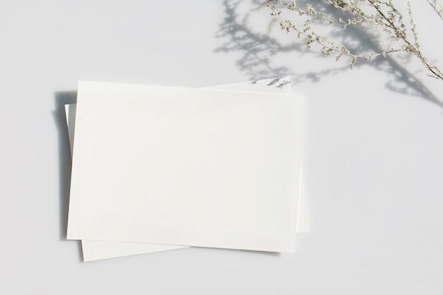 Пустая карточка или заметка с тенью растения на сером фоне.