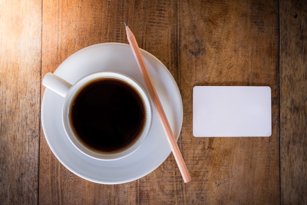 Blank card and pencil with coffee cup