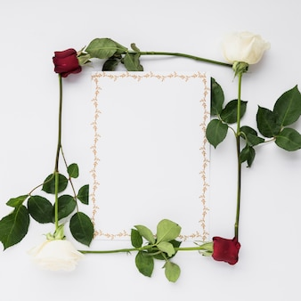 Blank card in rose frame on white background