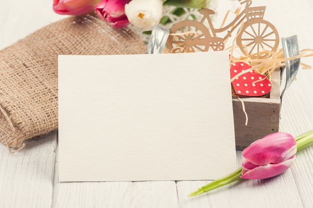Blank card with decorations