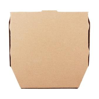 흰색 배경에 디자인을 위한 복사 공간이 있는 빈 골판지 피자 상자