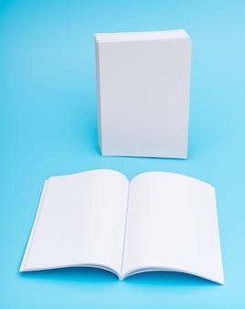 Blank catalog, magazines,book mock up on blue background. .