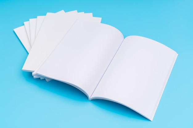 Blank catalog, magazines,book mock up on blue background. .
