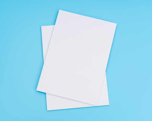 Пустой каталог, журналы, книги, макет на синем фоне. ,