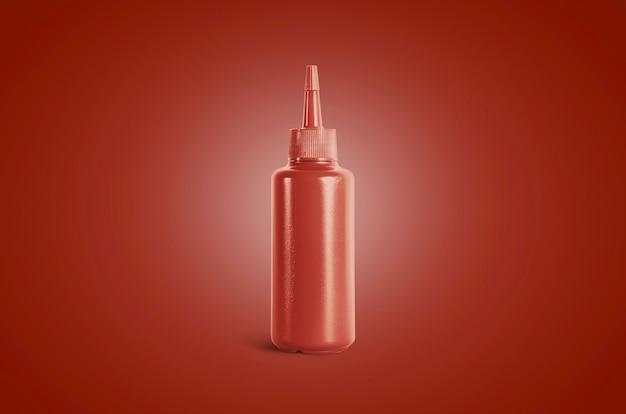 空白のケチャップスクイーズソースボトルのモックアップ、赤い背景