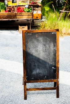 Blank chalk black board at farmer market