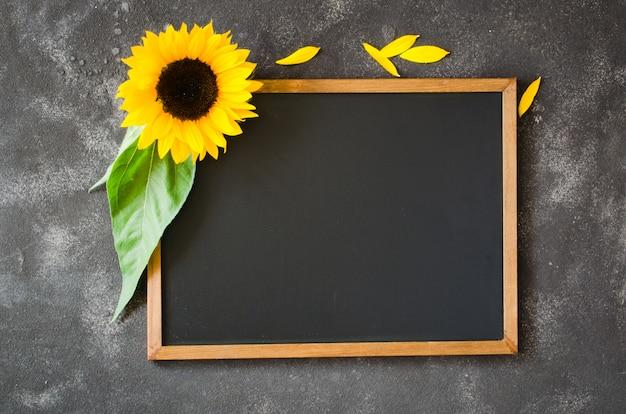 Blank chalkboard on dark stone with sunflower. autumn background for fall season.