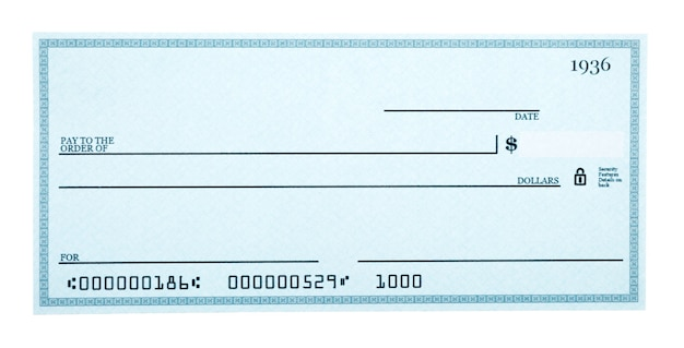 Blank check isolated on white