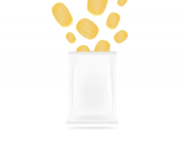 Пустой мешок для чипсов с летающими чипами