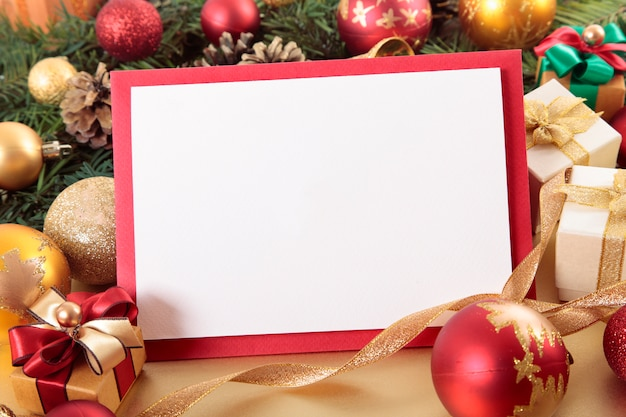 Blank christmas card with red border