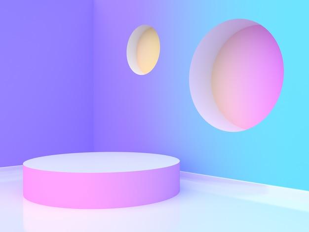 빈 원 연단 추상 바이올렛 퍼플 블루 옐로우 핑크 그라데이션 벽 방 3d 렌더링
