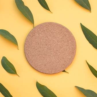 Blank circular cork surrounded with green leaves on yellow background