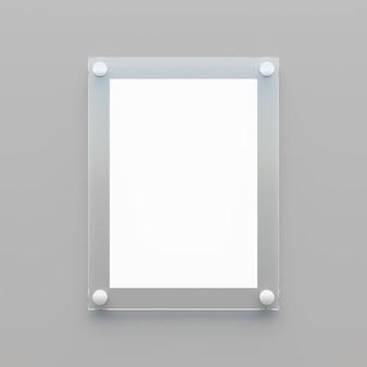 회색 배경에 흰색 종이가 있는 빈 투명 아크릴 보드. 3d 렌더링 그림