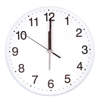 Blank clock face with hour, minute and second hands isolated on white