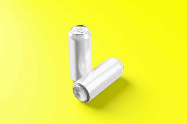 빈 차가운 알루미늄 맥주는 방울, 3d 렌더링으로 모형을 만들 수 있습니다. 빈 신선한 소다 깡통 포장은 응축수로 조롱합니다. 캔 음료수 디자인 프로젝트에 적합합니다.