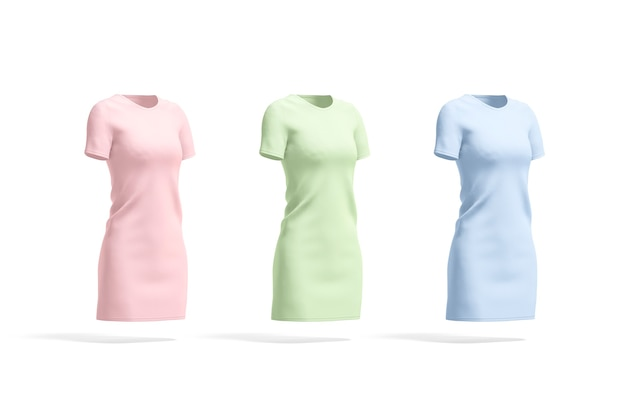 Blank colored cloth dress mockup set empty pink green and blue casual midi frock mock up isolated