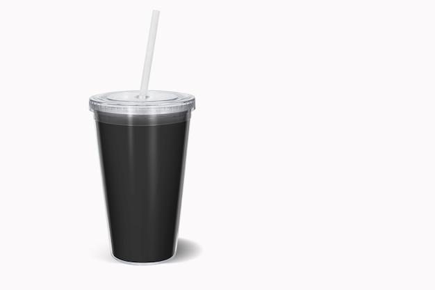 짚으로 빈 색된 일회용 컵, 절연 모의. 뚜껑과 튜브 전면보기와 종이 소다 마시는 머그잔
