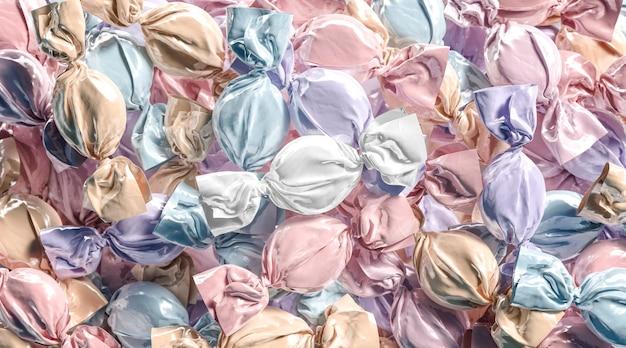 空白色のハードキャンディーホイルラッパーモックアップスタック空のキャラメル糖衣錠スイートラッパーモックアップヒープ