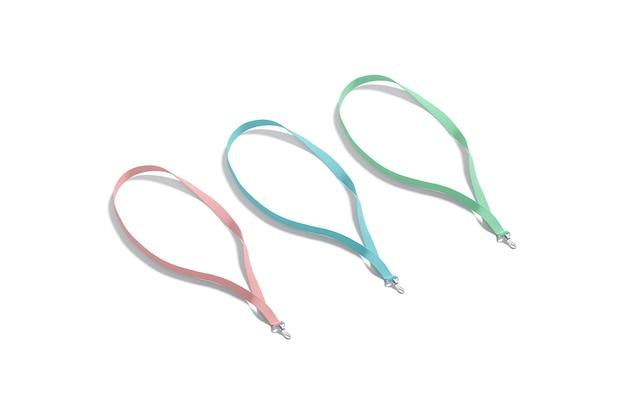 ネームカードモックアップ用の空白の色のストラップidモックアップ用の空のピンクブルーとグリーンのナイロンストラップ