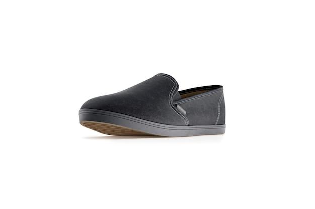 Пустые цветные слипоны, изолированные, 3d-рендеринг. вид профиля простой хипстерской слипонной стойки. городская обувь для скейтбординга с четкой подачей этикеток.