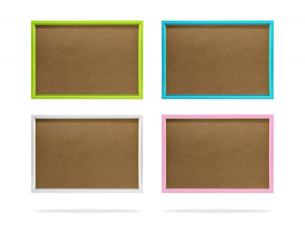Blank colorful photo frame template set on isolated background with clipping path.