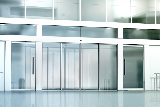 Blank commercial building glass entrance