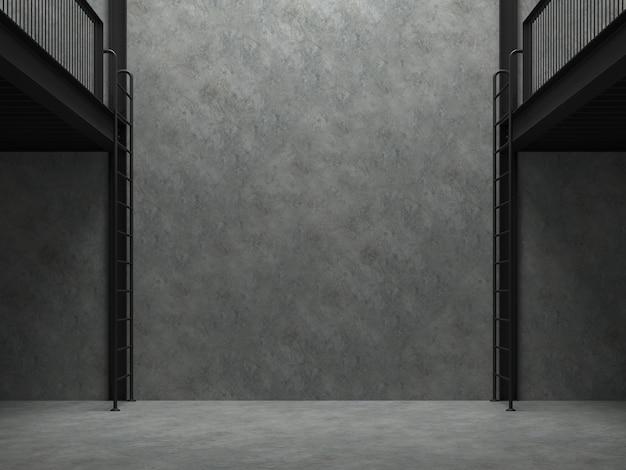 空の倉庫の空白のコンクリート壁3dレンダリング、磨かれたコンクリートの床と壁、黒い鉄骨構造、上から部屋に輝く自然光があります。