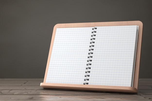 木製のテーブルの上の木製のブックホルダーにあなたのデザインのための空きスペースのある空白の料理本。 3dレンダリング