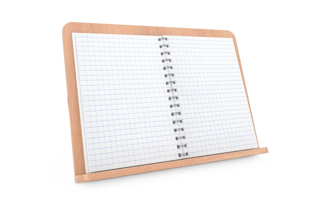 Blank cook book with free space for your design on wooden book holder on a white background. 3d rendering