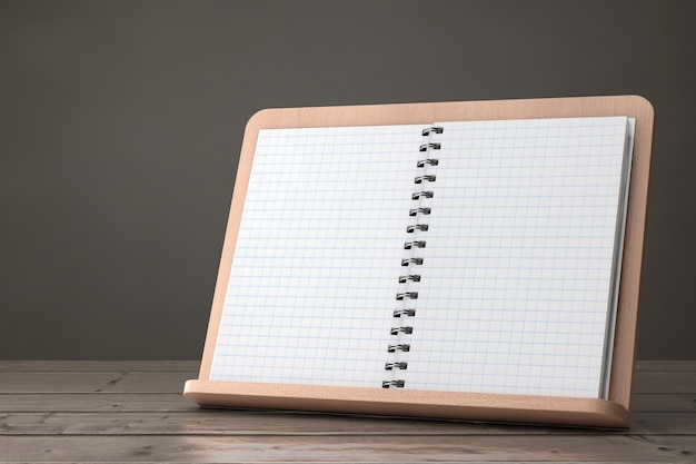 Blank cook book with free space for your design on wooden book holder on a wooden table. 3d rendering