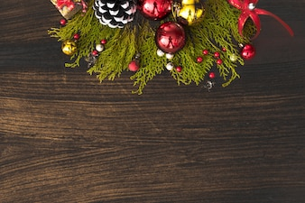 Blank copy space wallpaper Christmas, fir branches pine cones candle flat lay background