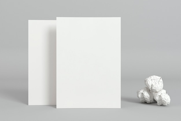 Blank corporate copy space business cards and crumpled paper