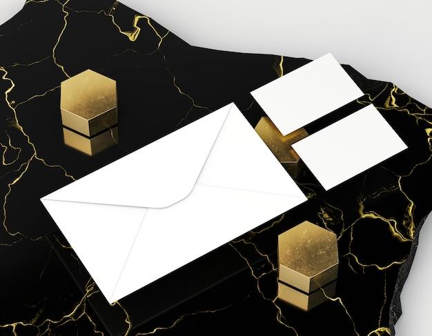 Пустые корпоративные канцелярские товары и золотые формы